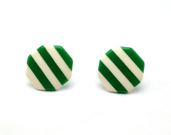 Awesome Green and White Striped Octagon Stud Earrings