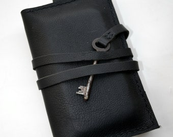 Leather black passport wallet with a vintage skeleton key & notebook - Hand stitched