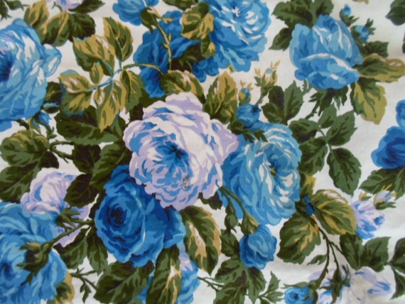 SALE 41.95 Vintage Retro Floral Chic French Country Blueberry Cabbage Rose Drapery Curtain 3 Panels