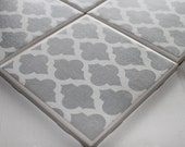Grey Moroccan Four Piece Ceramic Tile Coaster Set - NicolesNicNacs