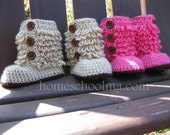 Baby Booties Hot Pink and Oatmeal