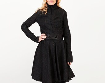 Womens Black Plaid High Collar Swing Jacket with Circle Skirt