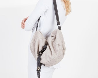 Slouchy French Gray Hobo Trapeze Messenger Purse or Bag with Black Faux Leather Details