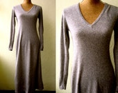 RESERVED FOR LEAH- Vintage 100% Cashmere Grey Long Sleeved Maxi Sweater Dress