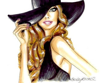 "Fashion Illustration print ""Go For It"", blonde in black hat, By Emily Brickel"