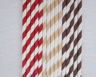 Red Brown Cream Paper Straws ~ Sock Monkey Party ~ Drinking Straws