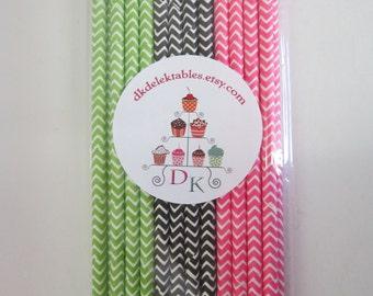 Black Pink Green Paper Straws ~Watermelon Party ~ Drinking Straws