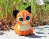 Sweetest Kitteh Ever- needle felted orange tabby kitten