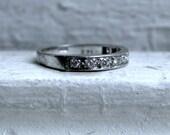 Classic Vintage 18K White Gold Pave Diamond Wedding Band - 0.27ct