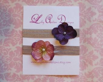 Purple and mauve flower headband set/ Newborn headband/ Girls headband