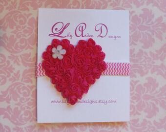 Hot pink Chiffon heart on chevron print headband / Newborn headband/ Holiday headband