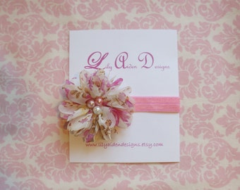 Pink floral print flower with pearled center headband/ Newborn headband/ baby headband