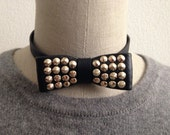 Studded  Leather Bow Tie Necklace, With Ajustable Back Snap Closure