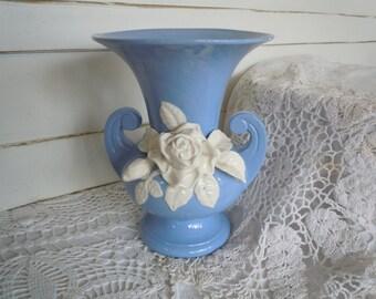 Vintage Art Deco Vase -  Medium Blue Vintage Vase - Blue Vase with attached White Roses - Antique Vase