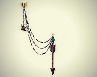 bird ear cuff arrow turquoise earring, chains ear cuff, tribal ear cuff, arrow head ear cuff, tribal ear cuff
