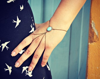 turquoise double ring slave bracelet , turquoise jewelry, turquoise accessory, unique bracelet, vintage style bracelet