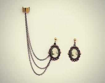 ear cuff green cameo earrings, green cameo earrings, vintage earrings, unique earrings