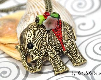 Elephant Necklace - Decorated Thai Elephant Long Necklace - Antique Bronze Chain Necklace