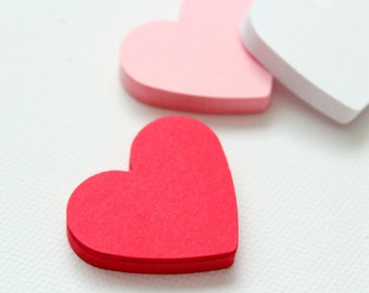 25 Hearts Die cuts punches cardstock 1 7/16 inch -Scrapbook, cards, embellishment, confetti - Red, Pink or White