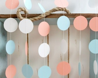 Light Blue, Light Coral, White 12 ft Circle Paper Garland- Wedding, Birthday, Bridal Shower, Baby Shower, Party Decorations