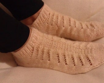 DISCOUNT - Hand Knitting Home Slippers- Cream Slippers - Handmade Home Cream Slippers