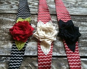shabby chic red black and cream chevron print pattern fabric headband with red cream and black flower. photo prop