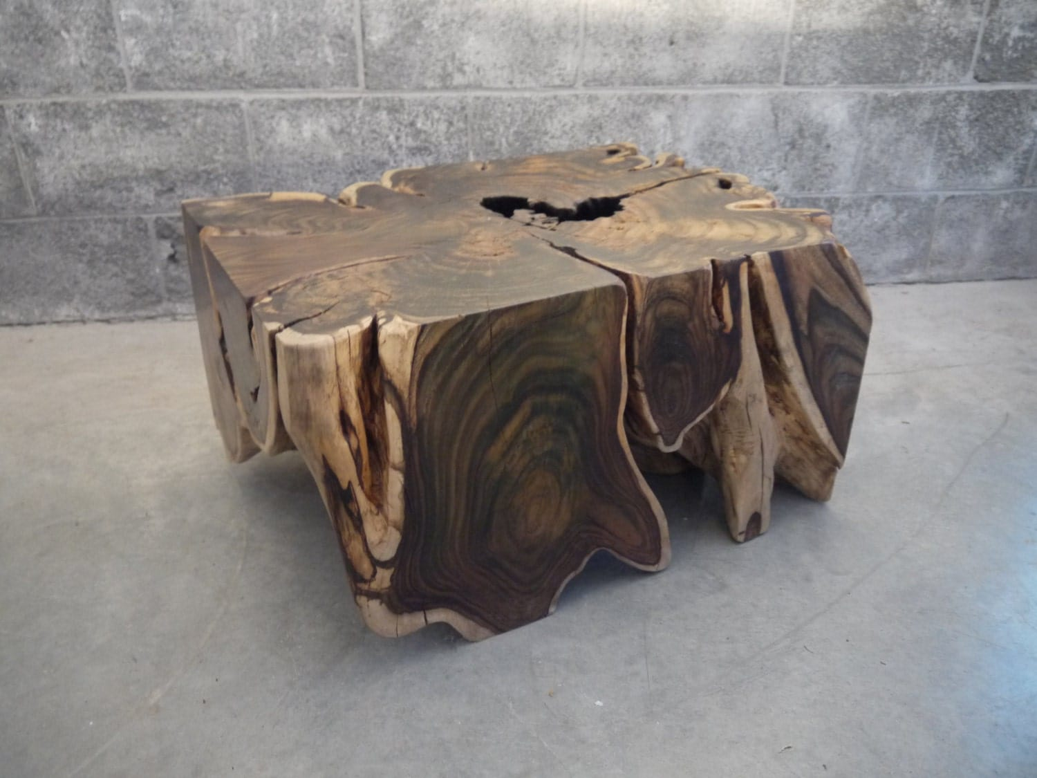 Sono wood root coffee table live edge by boisdesign on etsy Live wood coffee table
