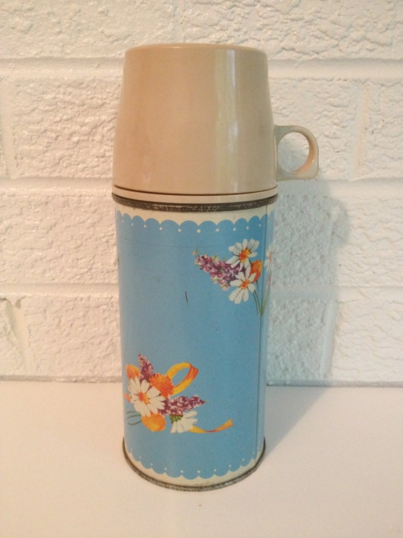 Vintage Floral Thermos - Bright Blue - Thermos Brand