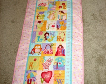 Girl's Growth Chart (Personalize it), alphabet growth chart, fabric growth chart, baby gift, OOAK gift, custom baby gift, baby girl gift