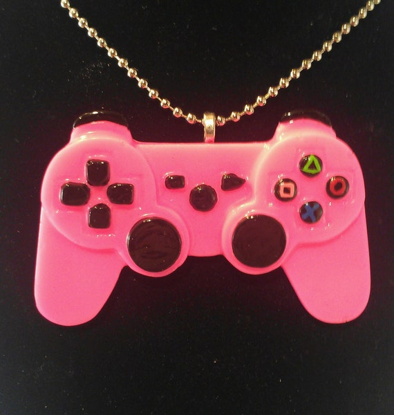 Hot Pink Gamer Girl Resin Video Game Controller NecklaceMade