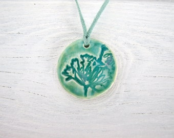 Spring Green turquoise Ceramic pendant crackle glaze agapanthus flower sea foam suede, Gift for gardener