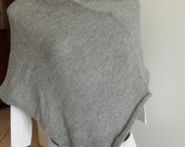 Grey melange poncho,shawl,knitted,blend wool,accessories,lightweight