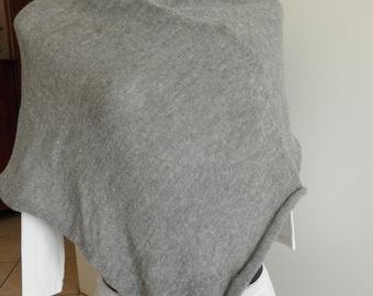 Grey melange poncho,shawl,knitted,blend wool,accessories,lightweight