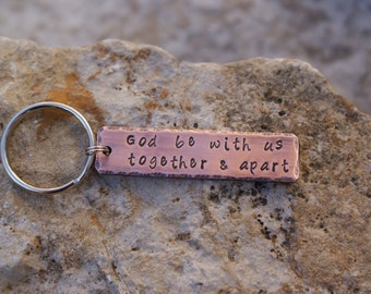 Personalized Hand Stamped Quote Copper Key Chain