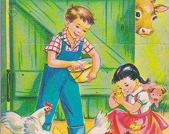 On Sale - A Day on The Farm - Rand Mcnally Junior Elf Book- Storybook for  Children Vintage 1940's