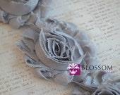 1/2 or 1 YARD Increment - GRAY - Shabby Chiffon Flower Rose Trim - Headband Flowers