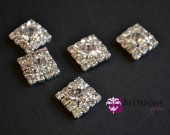 FLATBACK - Square Rhinestone Metal Centers - Crystal Clear 12mm -  Flower Centers - Wedding Bridal Prom Jewel Princess Cut Vintage Inspired