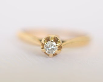 SALE! Vintage 1980s / diamond solitaire 9k gold engagement . Wedding ring/ size 5.5 // SIMPLE BLISS