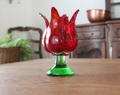 Vintage Hand Blown Art Glass Red Tulip Vase Votive