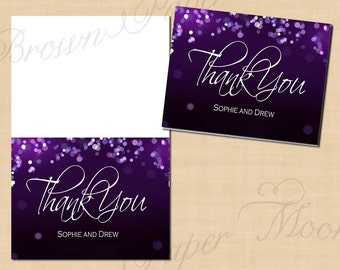 Purple Night Sky Thank You Cards (Foldable to 5.5x4.25): Text-Editable, Printable, Instant Download