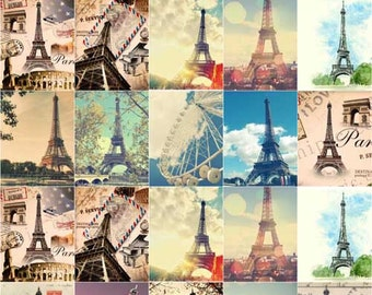 Paper Flocking Tape Sticker, DIY Cloth Art Manual Cloth Deco Figure Hot Sticker Plated Backing Painting--Eiffel Tower (ST29)