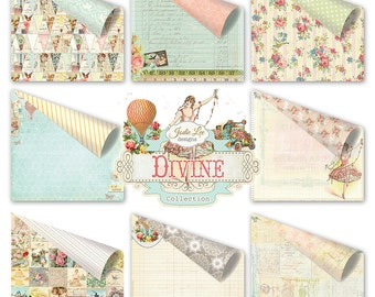 """Divine Collection 12""""x12"""" Scrapbook Paper Set of Eight Card-stock Papers by Jodie Lee for Prima Marketing."""