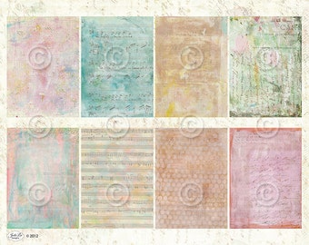 Art Journal ATC backgrounds Collage Sheet Printable Instant Digital Download File by Jodie Lee