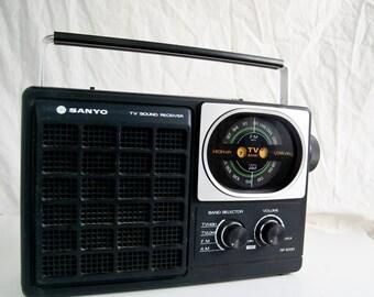 Vintage Sanyo Radio, AM FM TV Vintage Radio, Retro Electronics, Vintage Radio