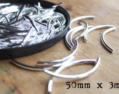Madison Ave. Silver Plated Curved Long Noodle Tube Beads (50mm by 3mm) - (100)