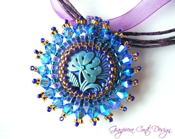 Iridescent Handmade Beadwork -  Swarovski Crystal Pendant, Rivoli - Bridesmaids gift, Special occasion - Iris, FREE shipping EU
