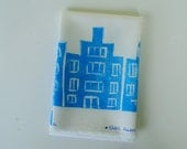 Handprinted fabric Dutch Houses - blue on white - fat quarter