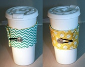 Reversible Coffee Sleeve-  Aqua CHEVRON