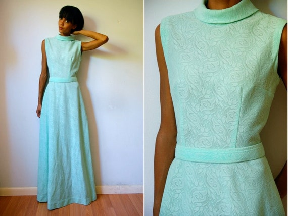 RESERVED: Vtg Mint Green Floral Lace Belted Maxi Dress
