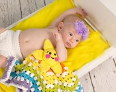 Rainbow star crochet stroller blanket